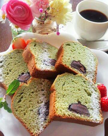スイーツバイキング『抹茶とチョコレートの新緑パウンドケーキ』