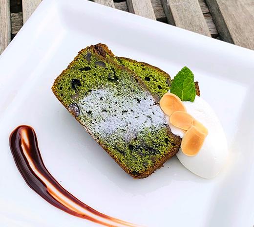 南蛮屋カフェの季節限定『新緑の抹茶のパウンドケーキ』