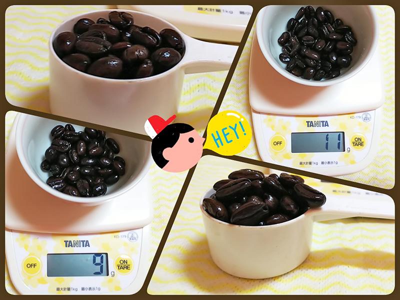 メジャーカップでのコーヒー豆の量り方:深煎りコーヒー