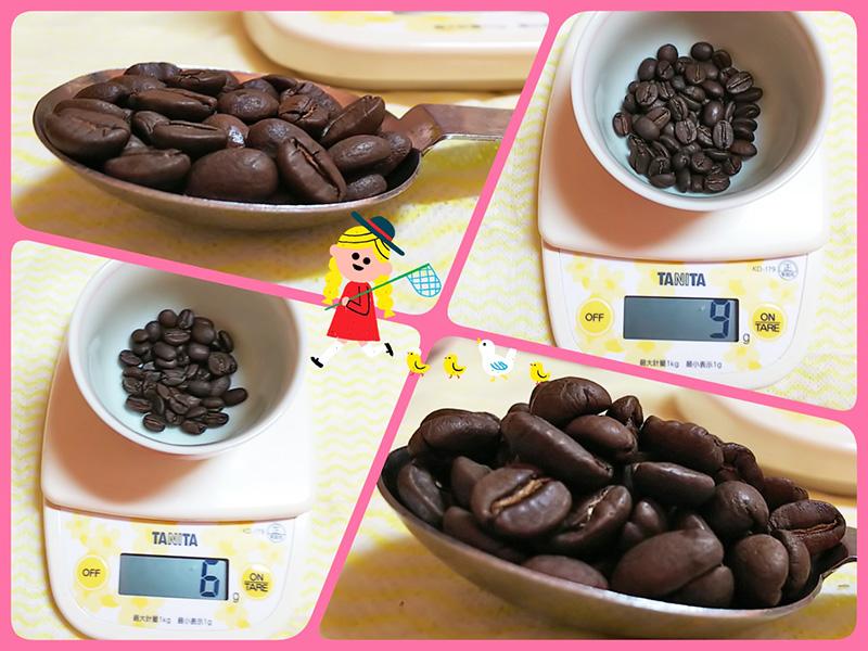 大さじスプーンでのコーヒー豆の量り方:浅煎りコーヒー