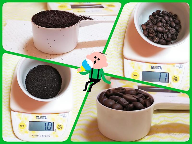 ジャーカップでのコーヒー豆の量り方:浅煎りコーヒー