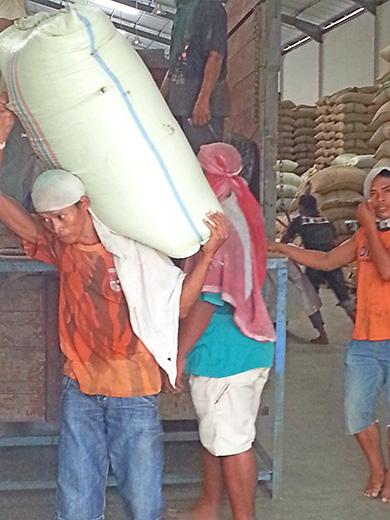 コーヒー1袋60kgのアサランを軽々持ち上げる