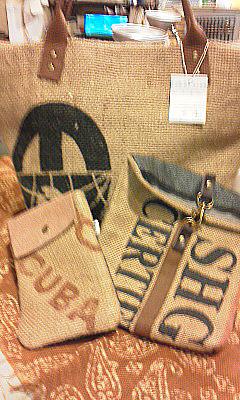コーヒーの麻袋で作ったバッグ