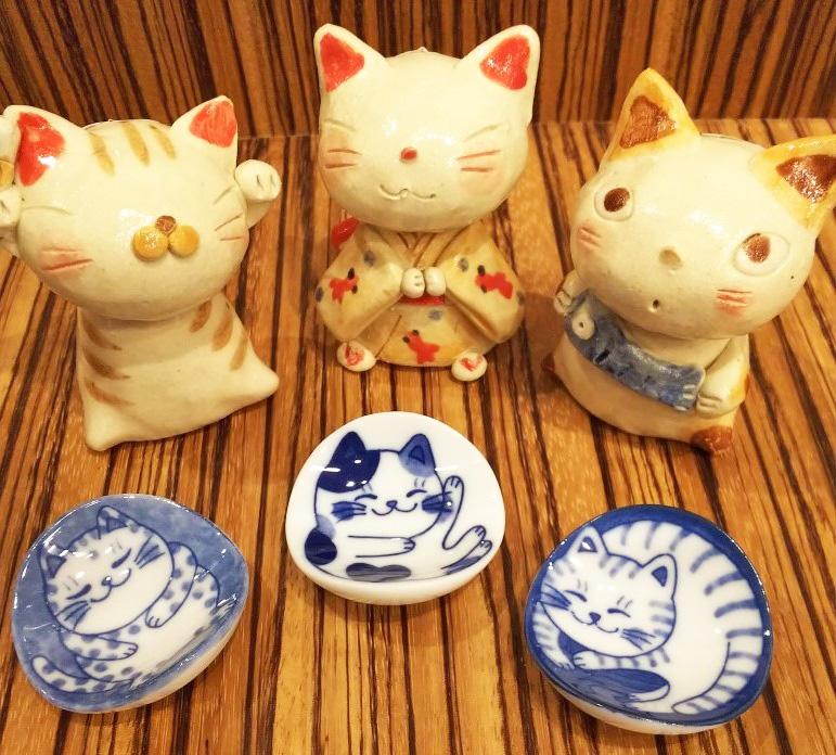 猫柄の陶器